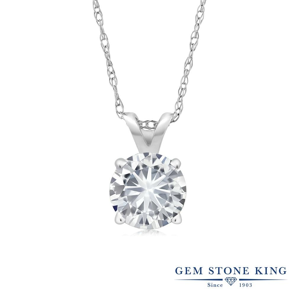 Gem Stone King 0.5カラット Forever Brilliant モアサナイト Charles & Colvard シルバー925(純銀) ネックレス ペンダント レディース モアッサナイト 小粒 一粒 シンプル 金属アレルギー対応 誕生日プレゼント