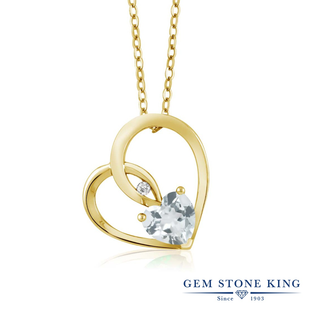 Gem Stone King 0.69カラット 天然アクアマリン シルバー 925 イエローゴールドコーティング 天然ダイヤモンド ネックレス ペンダント レディース シンプル 天然石 誕生石 誕生日プレゼント