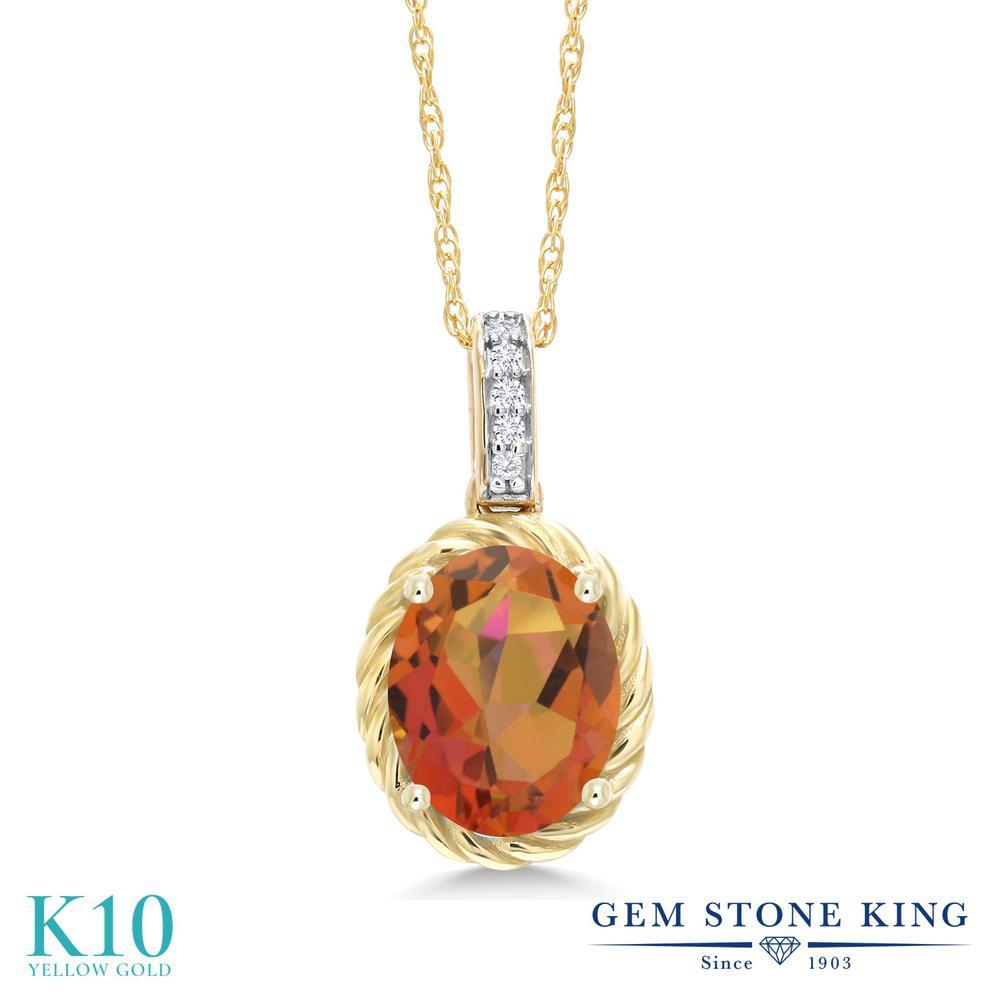 Gem Stone King 1.84カラット 天然 ミスティッククォーツ (トワイライトオレンジ) 天然 ダイヤモンド 10金 イエローゴールド(K10) ネックレス ペンダント レディース 大粒 天然石 金属アレルギー対応 誕生日プレゼント