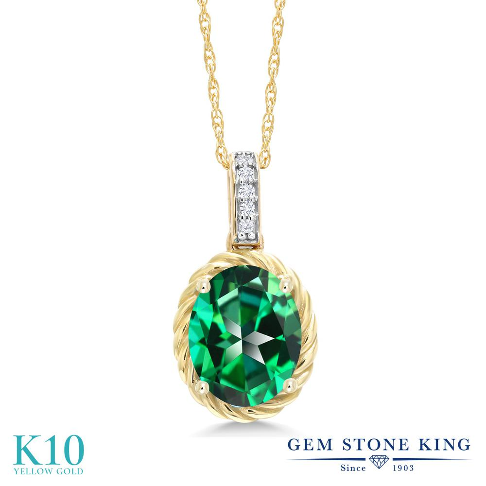 Gem Stone King 2.04カラット 天然石 トパーズ レインフォレスト (スワロフスキー 天然石シリーズ) 天然 ダイヤモンド 10金 イエローゴールド(K10) ネックレス ペンダント レディース 大粒 天然石 金属アレルギー対応 誕生日プレゼント