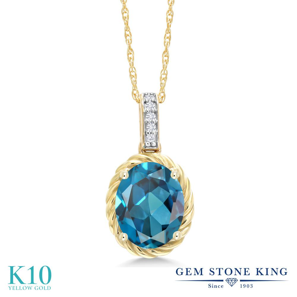 Gem Stone King 1.84カラット 天然 ロンドンブルートパーズ 天然 ダイヤモンド 10金 イエローゴールド(K10) ネックレス ペンダント レディース 大粒 天然石 11月 誕生石 金属アレルギー対応 誕生日プレゼント