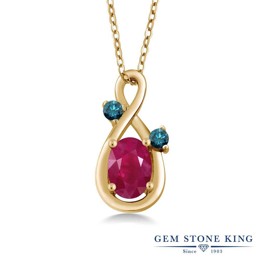 Gem Stone King 1.07カラット 天然 ルビー 天然 ブルーダイヤモンド シルバー925 イエローゴールドコーティング ネックレス ペンダント レディース 大粒 シンプル 天然石 7月 誕生石 金属アレルギー対応 誕生日プレゼント