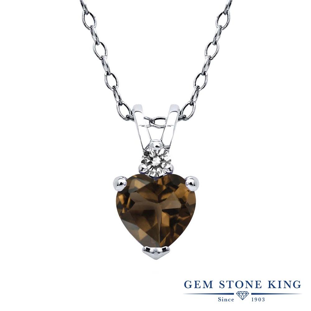0.47カラット 天然 スモーキークォーツ (ブラウン) ダイヤモンド ネックレス レディース シルバー925 ペンダント 小粒 シンプル 天然石 金属アレルギー対応
