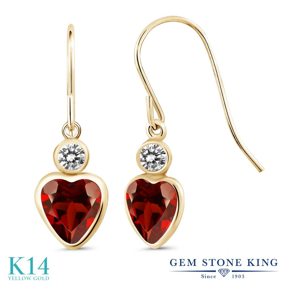 Gem Stone King 2カラット 天然 ガーネット 天然 ダイヤモンド 14金 イエローゴールド(K14) ピアス レディース ぶら下がり フレンチワイヤー 天然石 1月 誕生石 金属アレルギー対応 誕生日プレゼント