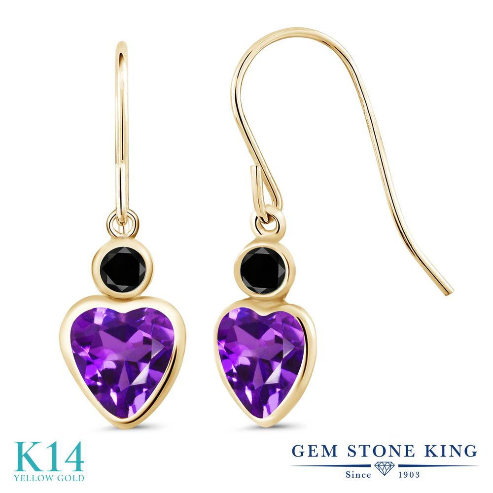 Gem Stone King 3.66カラット 天然 アメジスト 天然ブラックダイヤモンド 14金 イエローゴールド(K14) ピアス レディース 大粒 ぶら下がり フレンチワイヤー 天然石 2月 誕生石 金属アレルギー対応 誕生日プレゼント