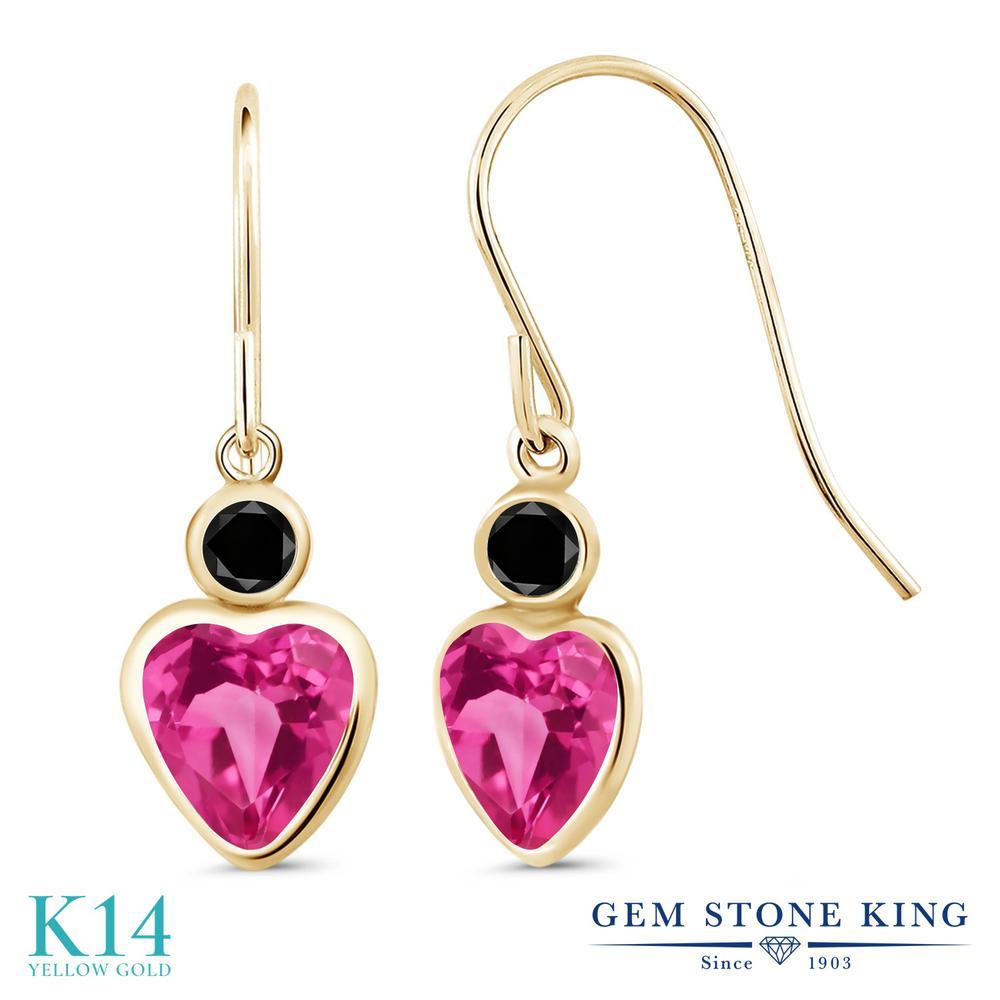 Gem Stone King 2.1カラット 天然 ミスティックトパーズ (ピンク) 天然ブラックダイヤモンド 14金 イエローゴールド(K14) ピアス レディース ぶら下がり フレンチワイヤー 天然石 金属アレルギー対応 誕生日プレゼント