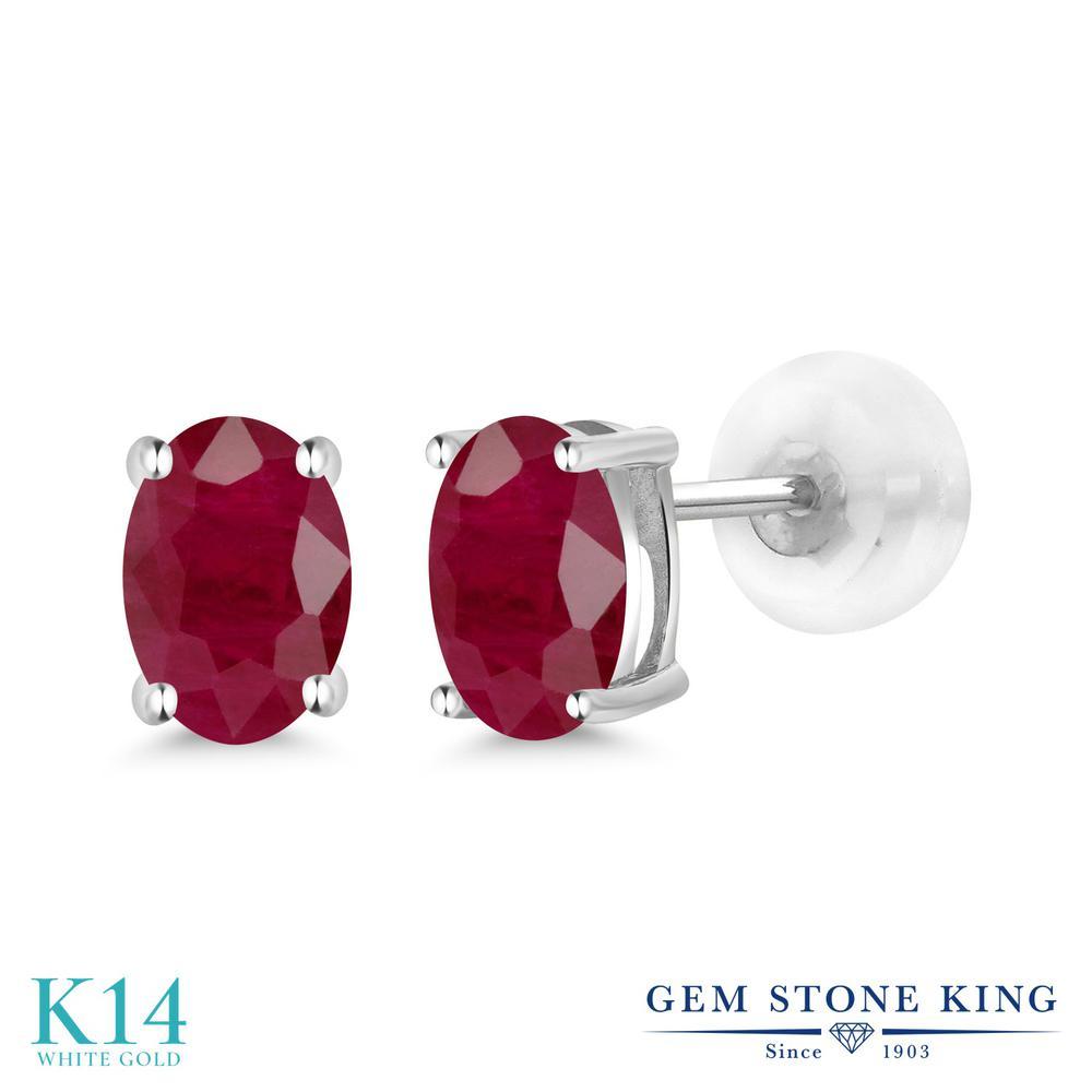 Gem Stone King 1.2カラット 天然 ルビー 14金 ホワイトゴールド(K14) ピアス レディース シンプル スタッド 天然石 7月 誕生石 金属アレルギー対応 誕生日プレゼント
