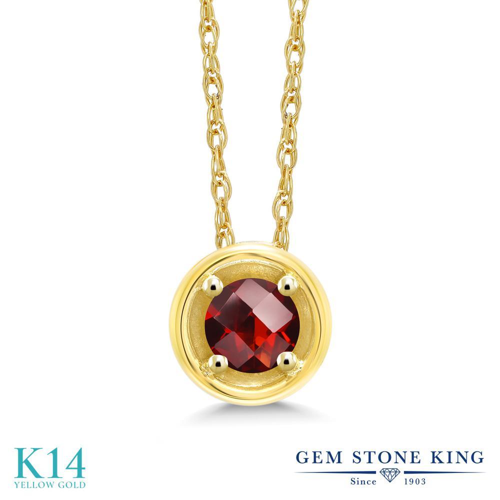 Gem Stone King 0.25カラット 天然 ガーネット 14金 イエローゴールド(K14) ネックレス ペンダント レディース 小粒 一粒 シンプル 天然石 1月 誕生石 金属アレルギー対応 誕生日プレゼント