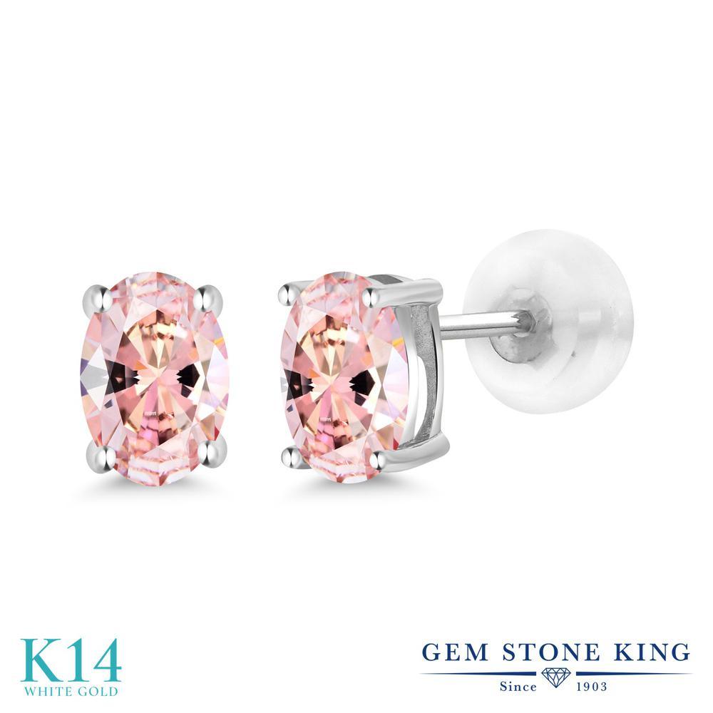 Gem Stone King スワロフスキージルコニア (モルガナイトピーチ) 14金 ホワイトゴールド(K14) ピアス レディース CZ 小粒 シンプル スタッド 金属アレルギー対応 誕生日プレゼント
