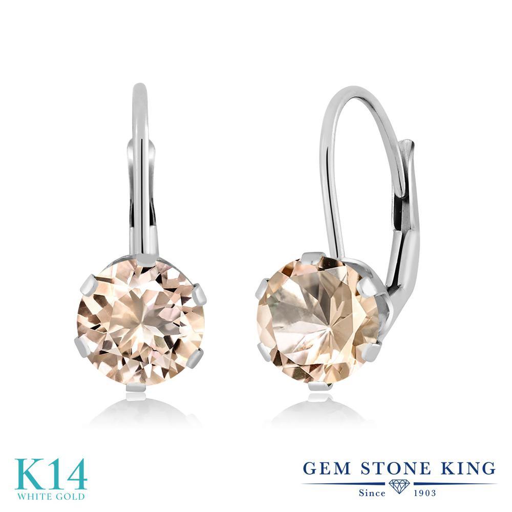 Gem Stone King 1.2カラット 天然 モルガナイト (ピーチ) 14金 ホワイトゴールド(K14) ピアス レディース シンプル ぶら下がり レバーバック 天然石 3月 誕生石 金属アレルギー対応 誕生日プレゼント