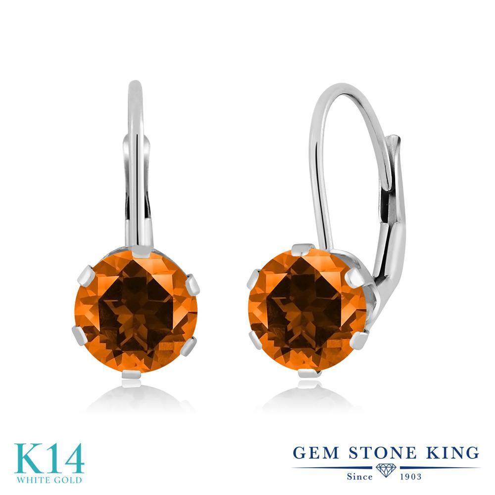 Gem Stone King 2カラット 天然石 トパーズ ポピー (スワロフスキー 天然石シリーズ) 14金 ホワイトゴールド(K14) ピアス レディース 大粒 シンプル ぶら下がり レバーバック 天然石 金属アレルギー対応 誕生日プレゼント