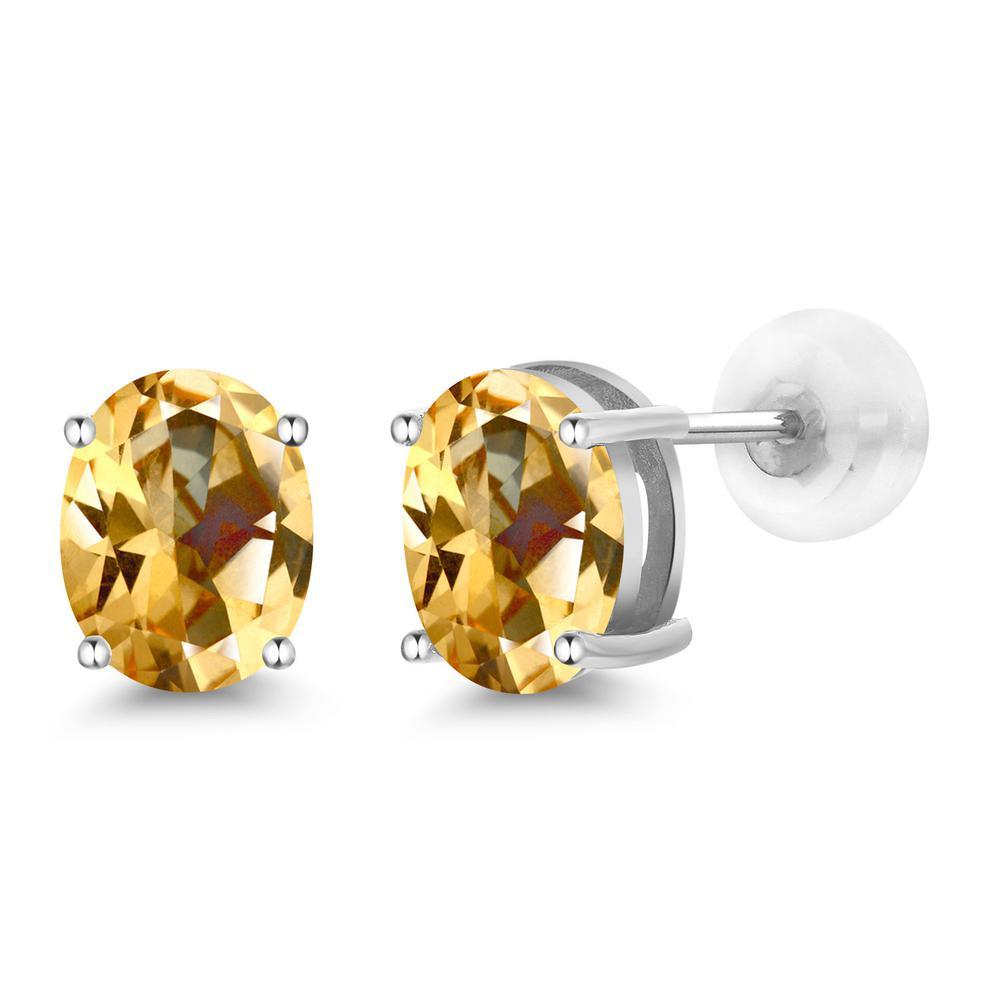 Gem Stone King 2.64カラット 天然石 トパーズ ハニースワロフスキー 14金 ホワイトゴールド(K14) ピアス レディース 大粒 シンプル スタッド 天然石 金属アレルギー対応 誕生日プレゼント