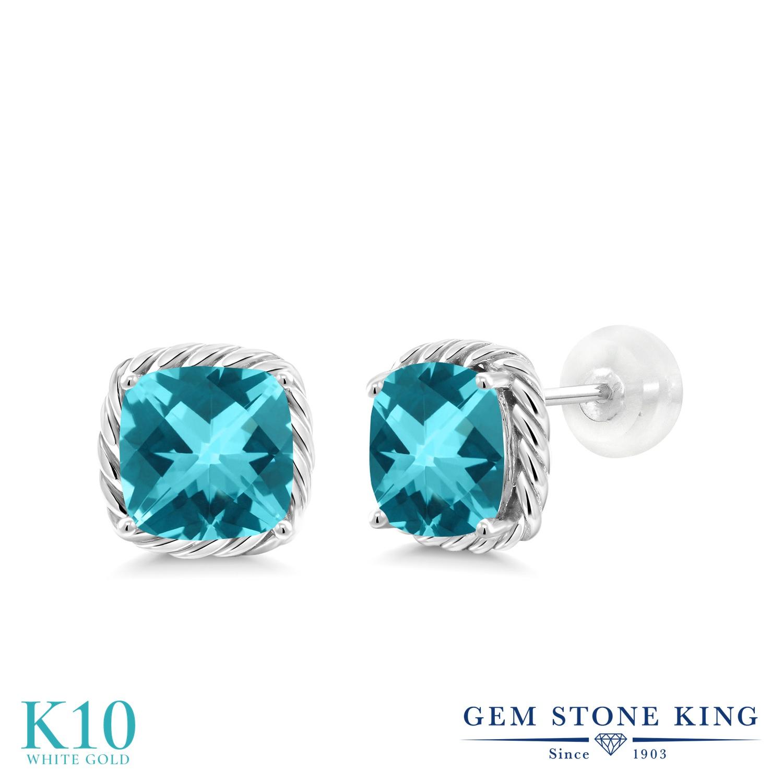 Gem Stone King 3.2カラット 天然石 パライバトパーズ (スワロフスキー 天然石シリーズ) 10金 ホワイトゴールド(K10) ピアス レディース 大粒 シンプル スタッド 天然石 金属アレルギー対応 誕生日プレゼント
