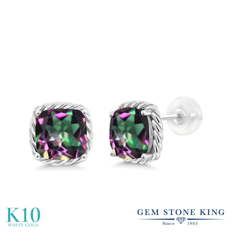 Gem Stone King 3.4カラット 天然石 ミスティックトパーズ (グリーン) 10金 ホワイトゴールド(K10) ピアス レディース 大粒 シンプル スタッド 天然石 金属アレルギー対応 誕生日プレゼント