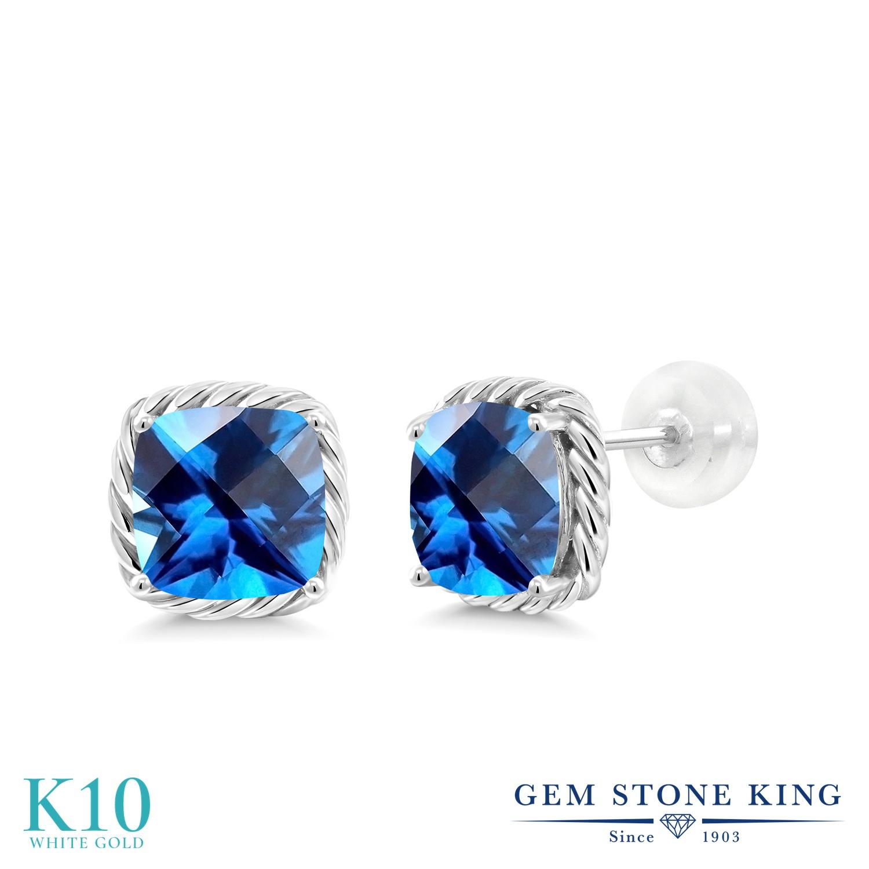 Gem Stone King 3.12カラット 天然石 カシミアブルートパーズ (スワロフスキー 天然石シリーズ) 10金 ホワイトゴールド(K10) ピアス レディース 大粒 シンプル スタッド 天然石 金属アレルギー対応 誕生日プレゼント