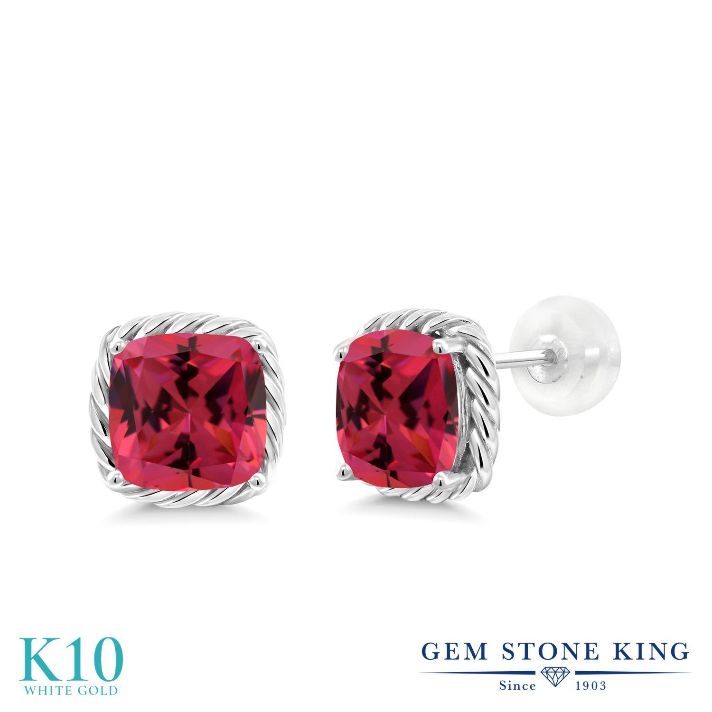 Gem Stone King スワロフスキージルコニア (ファンシーピンク) 10金 ホワイトゴールド(K10) ピアス レディース CZ 大粒 シンプル スタッド 金属アレルギー対応 誕生日プレゼント