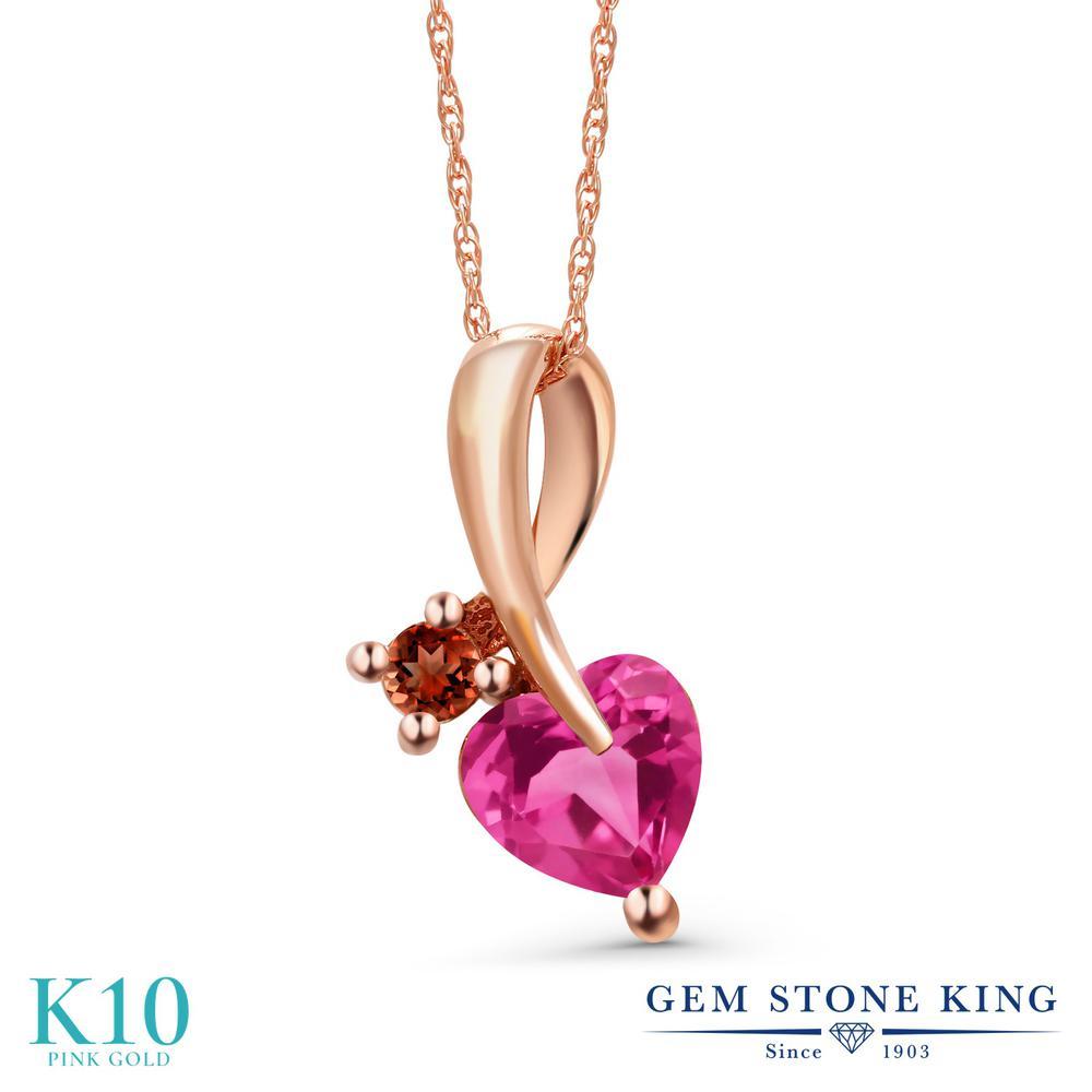 Gem Stone King 0.92カラット 合成ピンクサファイア 天然 ガーネット 10金 ピンクゴールド(K10) ネックレス ペンダント レディース シンプル 金属アレルギー対応 誕生日プレゼント