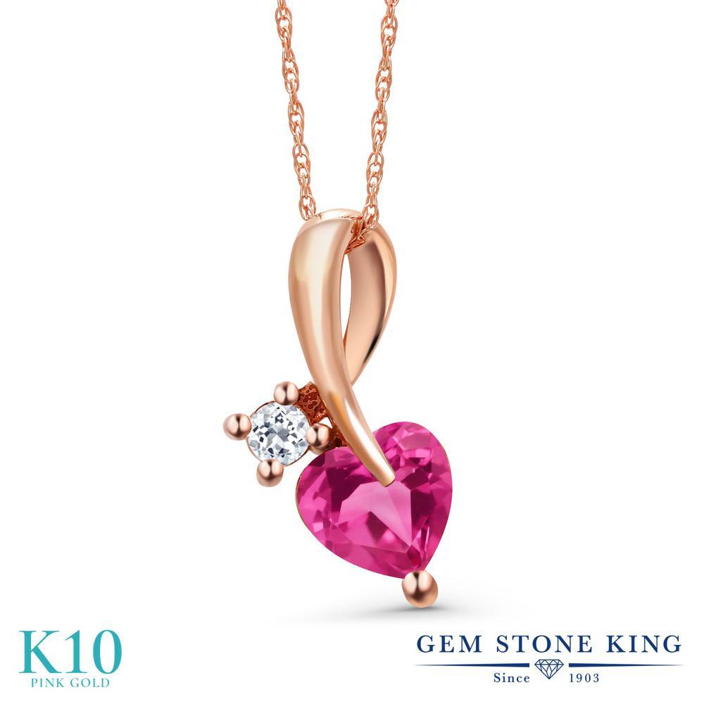 Gem Stone King 0.94カラット 合成ピンクサファイア 天然 トパーズ (無色透明) 10金 ピンクゴールド(K10) ネックレス ペンダント レディース シンプル 金属アレルギー対応 誕生日プレゼント