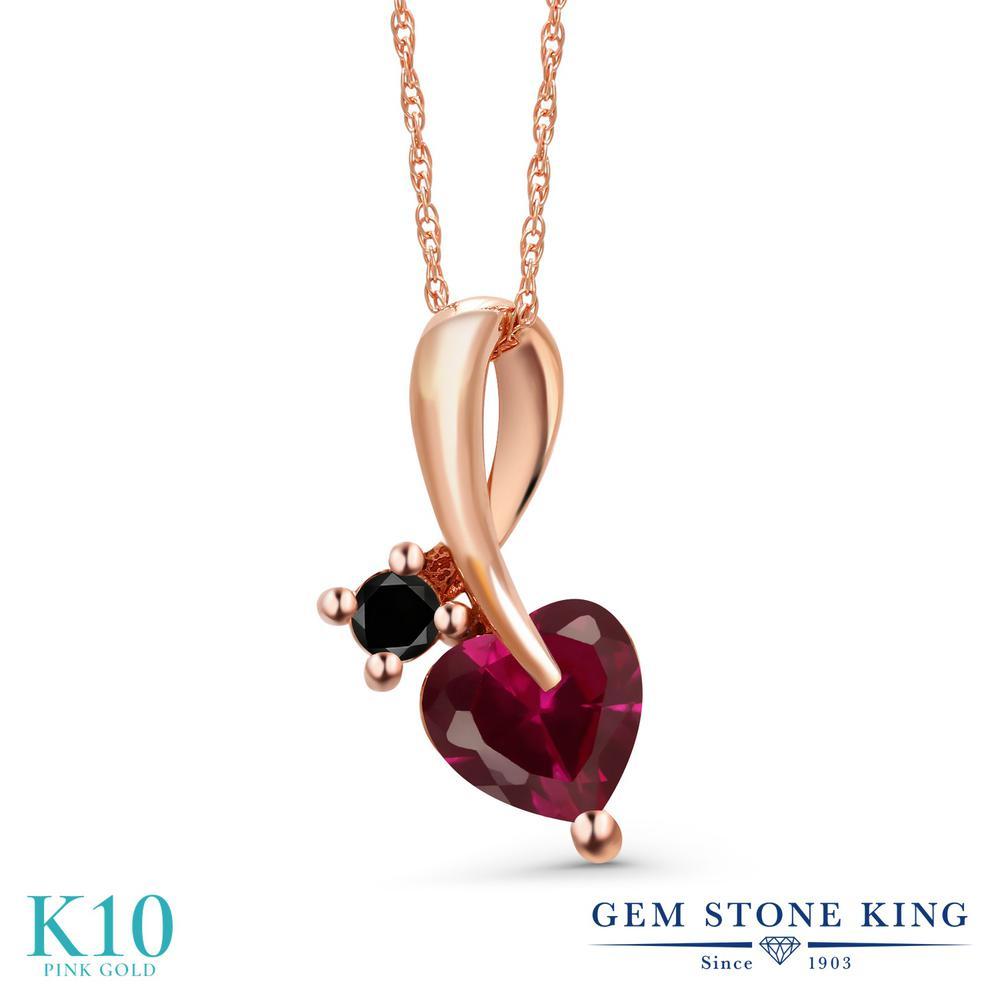Gem Stone King 1.06カラット 合成ルビー 天然ブラックダイヤモンド 10金 ピンクゴールド(K10) ネックレス ペンダント レディース シンプル 金属アレルギー対応 誕生日プレゼント