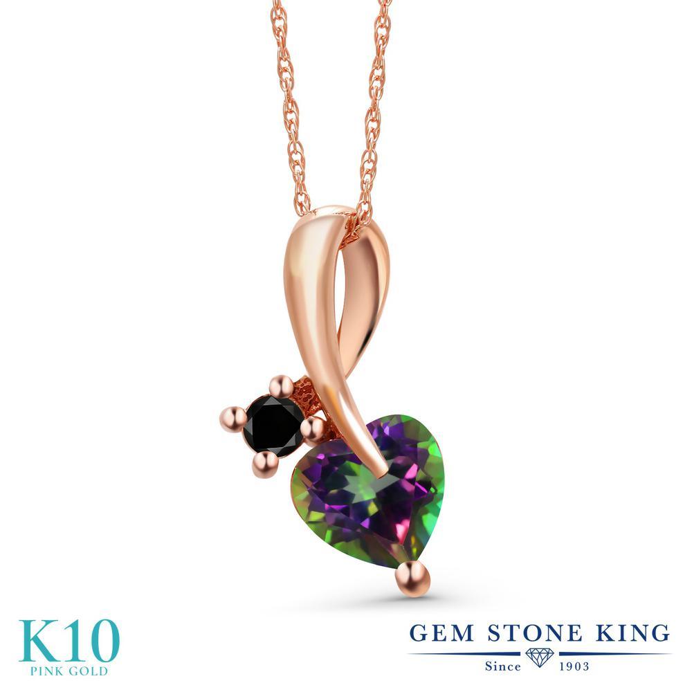 Gem Stone King 1.05カラット 天然石 ミスティックトパーズ (グリーン) 天然ブラックダイヤモンド 10金 ピンクゴールド(K10) ネックレス ペンダント レディース シンプル 天然石 金属アレルギー対応 誕生日プレゼント