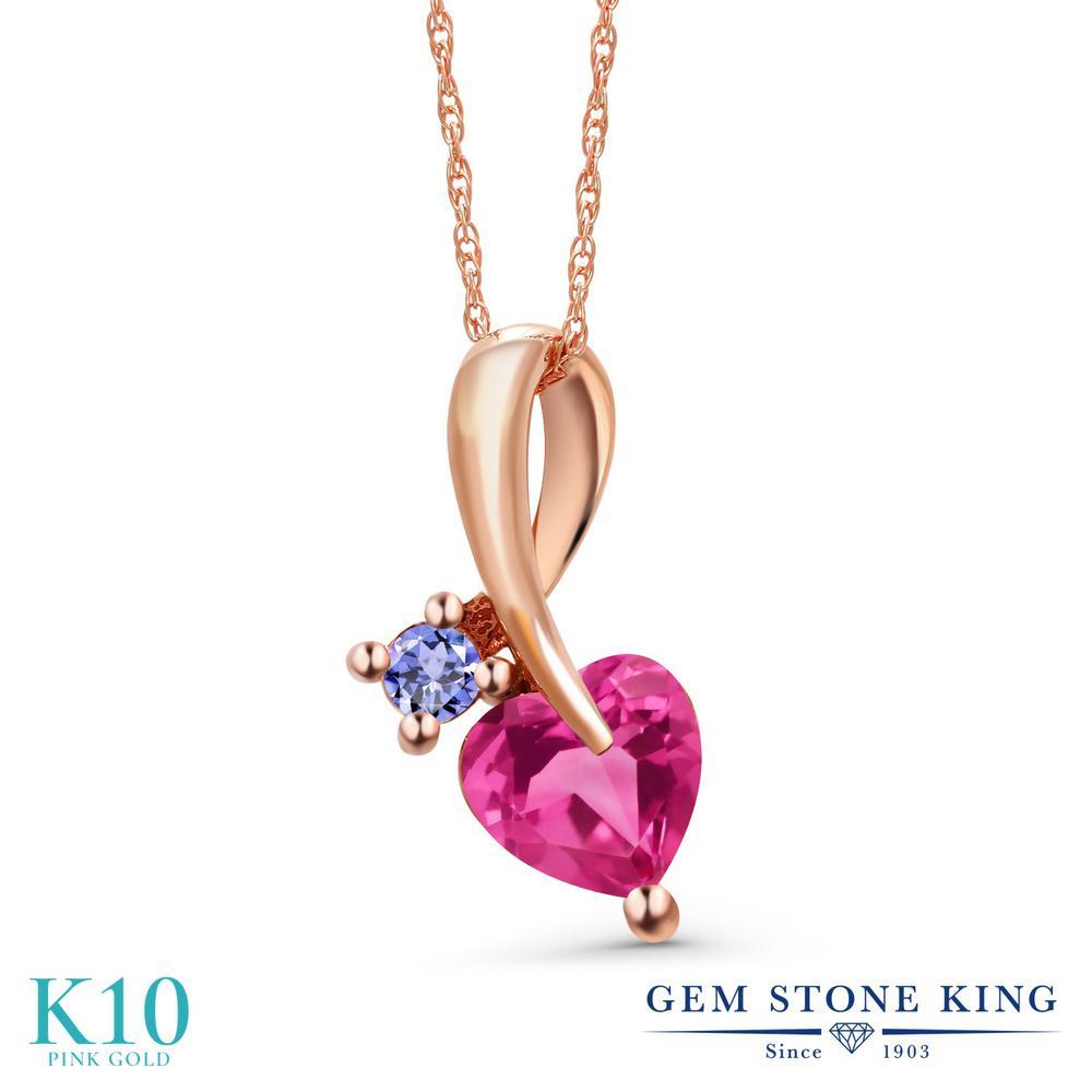 Gem Stone King 0.92カラット 合成ピンクサファイア 天然石 タンザナイト 10金 ピンクゴールド(K10) ネックレス ペンダント レディース シンプル 金属アレルギー対応 誕生日プレゼント