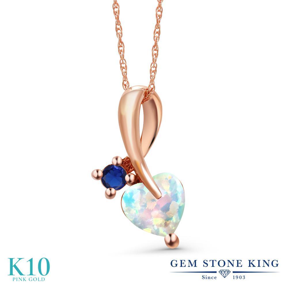 Gem Stone King 0.88カラット シミュレイテッド ホワイトオパール シミュレイテッド サファイア 10金 ピンクゴールド(K10) ネックレス ペンダント レディース シンプル 10月 誕生石 金属アレルギー対応 誕生日プレゼント