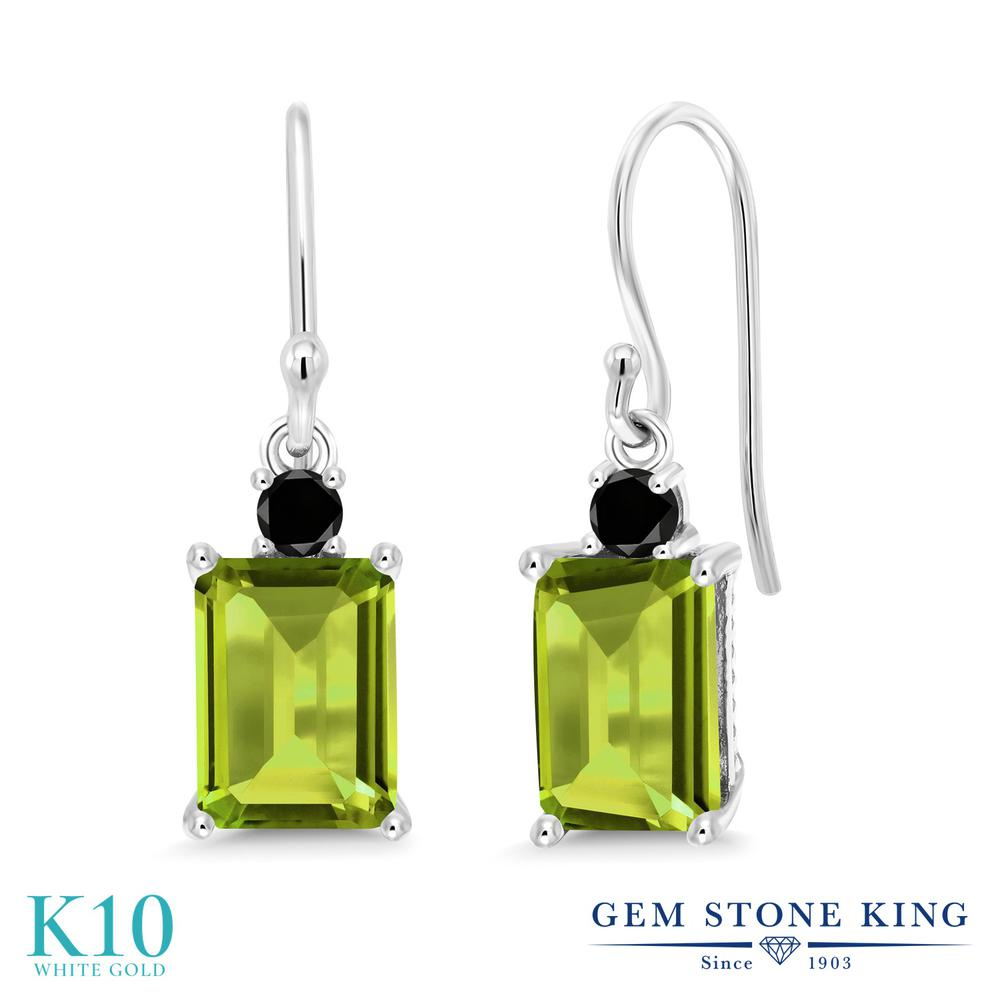 Gem Stone King 3.43カラット 天然石 ペリドット 天然ブラックダイヤモンド 10金 ホワイトゴールド(K10) ピアス レディース 大粒 ぶら下がり フレンチワイヤー 天然石 8月 誕生石 金属アレルギー対応 誕生日プレゼント