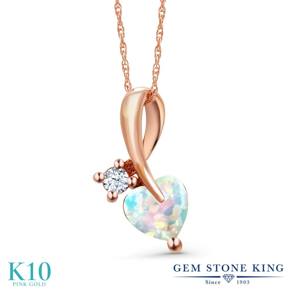 Gem Stone King 0.88カラット シミュレイテッド ホワイトオパール 合成ホワイトサファイア (ダイヤのような無色透明) 10金 ピンクゴールド(K10) ネックレス ペンダント レディース シンプル 10月 誕生石 金属アレルギー対応 誕生日プレゼント