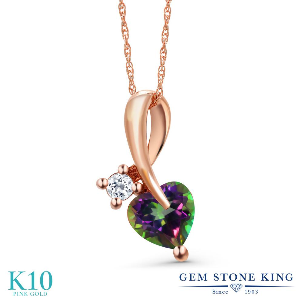 Gem Stone King 1.09カラット 天然石 ミスティックトパーズ (グリーン) 天然 トパーズ (無色透明) 10金 ピンクゴールド(K10) ネックレス ペンダント レディース シンプル 天然石 金属アレルギー対応 誕生日プレゼント