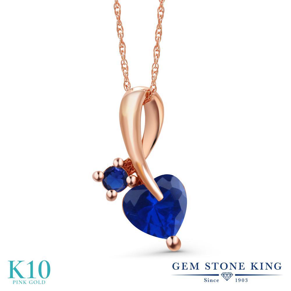 Gem Stone King 0.93カラット シミュレイテッド サファイア 10金 ピンクゴールド(K10) ネックレス ペンダント レディース シンプル 金属アレルギー対応 誕生日プレゼント