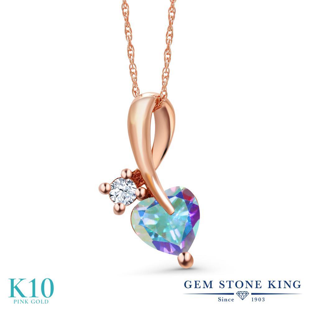 Gem Stone King 1.06カラット 天然石 ミスティックトパーズ (マーキュリーミスト) 10金 ピンクゴールド(K10) ネックレス ペンダント レディース シンプル 天然石 金属アレルギー対応 誕生日プレゼント