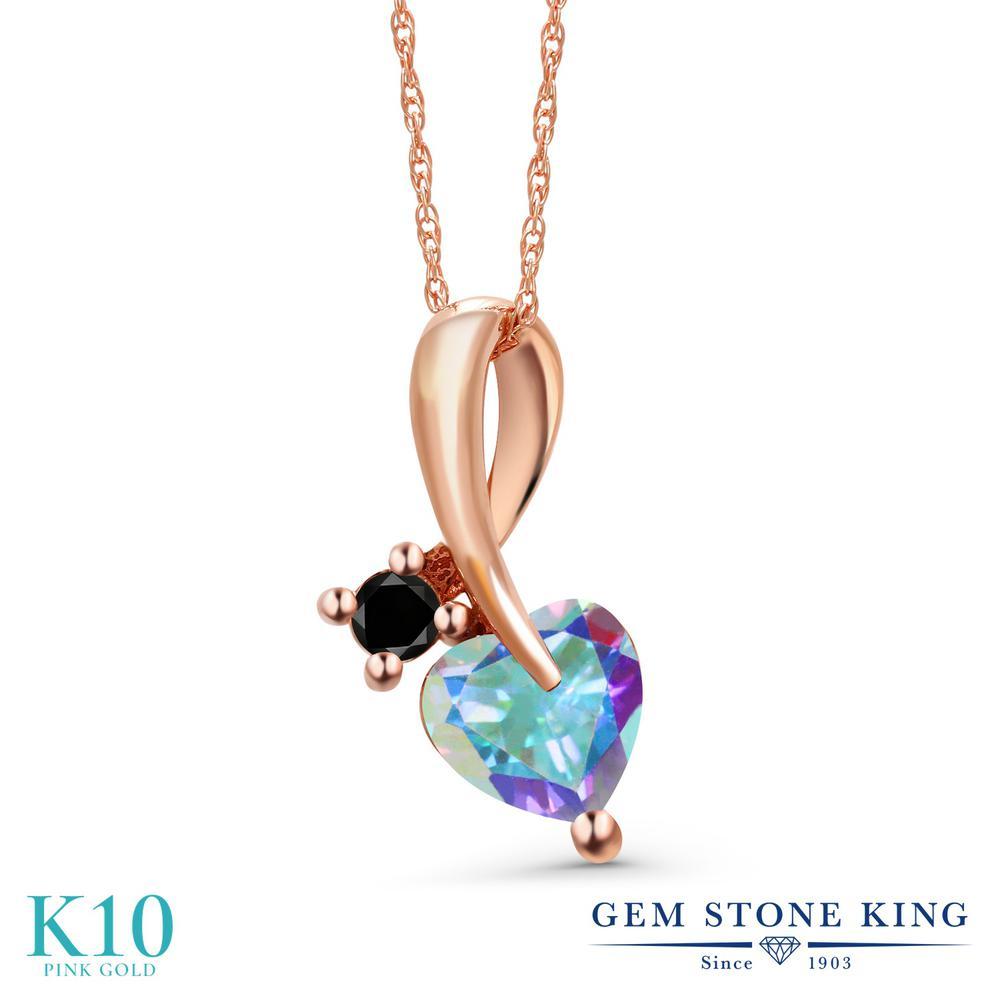 Gem Stone King 1.05カラット 天然石 ミスティックトパーズ (マーキュリーミスト) 天然ブラックダイヤモンド 10金 ピンクゴールド(K10) ネックレス ペンダント レディース シンプル 天然石 金属アレルギー対応 誕生日プレゼント