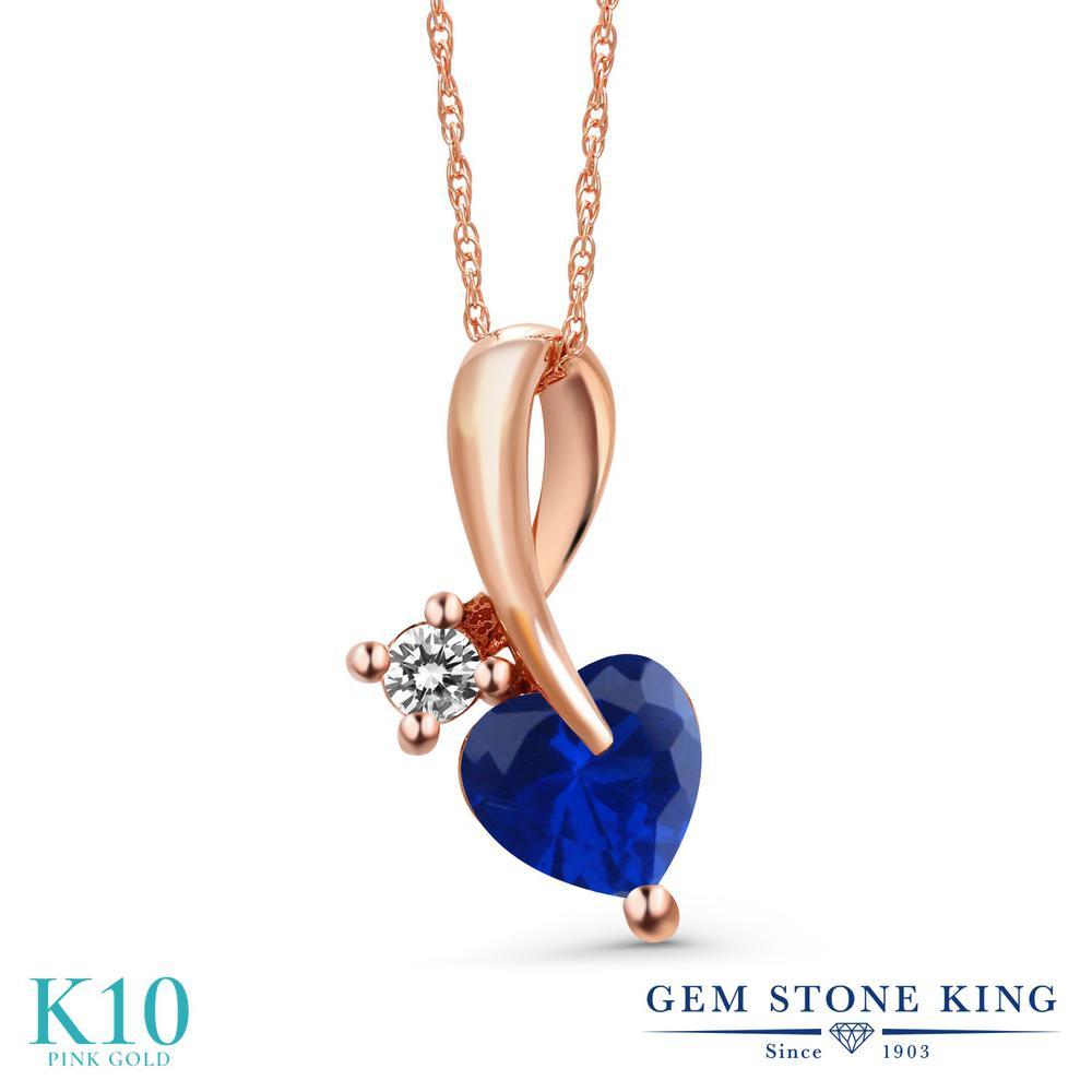 Gem Stone King 0.9カラット シミュレイテッド サファイア 天然 ダイヤモンド 10金 ピンクゴールド(K10) ネックレス ペンダント レディース シンプル 金属アレルギー対応 誕生日プレゼント