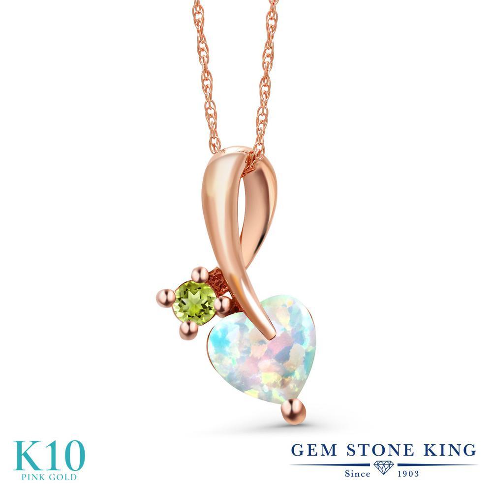 Gem Stone King 0.87カラット シミュレイテッド ホワイトオパール 天然石 ペリドット 10金 ピンクゴールド(K10) ネックレス ペンダント レディース シンプル 10月 誕生石 金属アレルギー対応 誕生日プレゼント