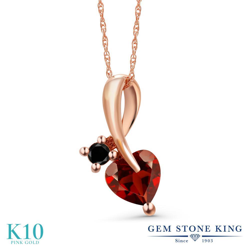 Gem Stone King 1カラット 天然 ガーネット 天然ブラックダイヤモンド 10金 ピンクゴールド(K10) ネックレス ペンダント レディース シンプル 天然石 1月 誕生石 金属アレルギー対応 誕生日プレゼント