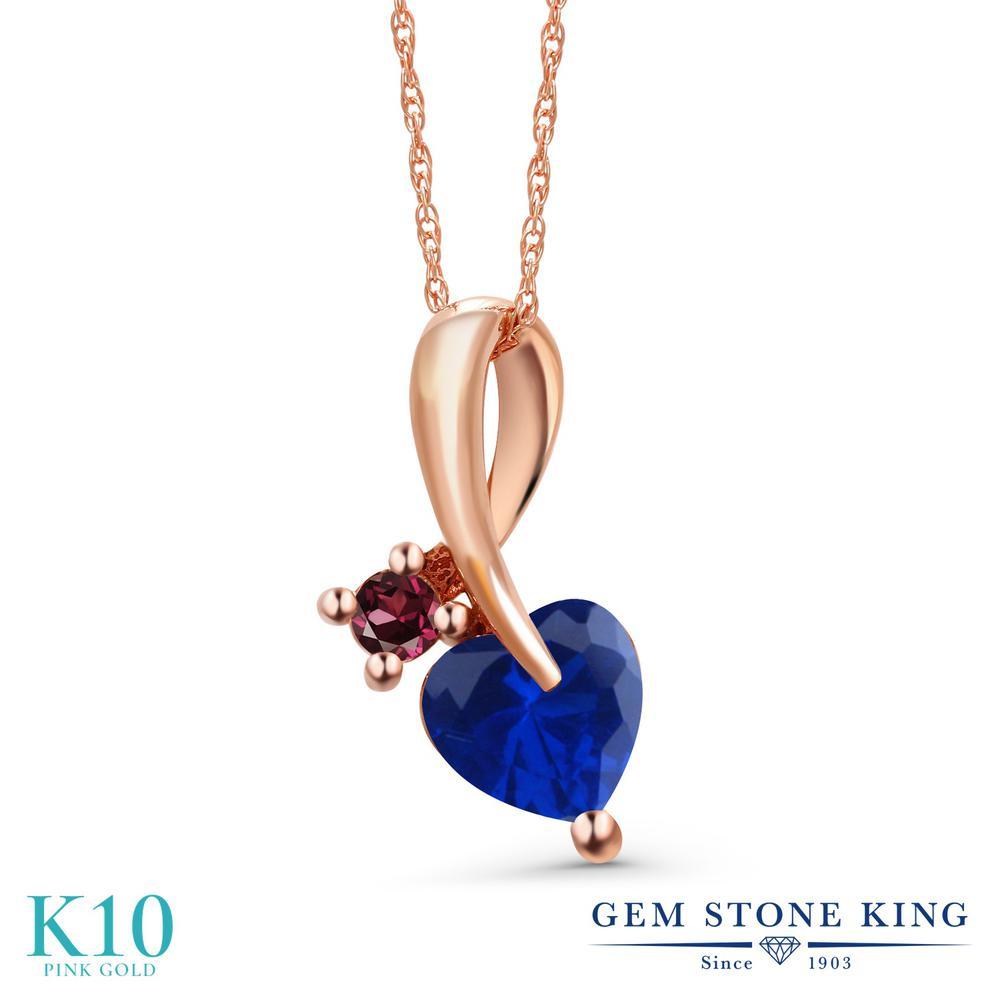 Gem Stone King 0.92カラット シミュレイテッド サファイア 天然 ロードライトガーネット 10金 ピンクゴールド(K10) ネックレス ペンダント レディース シンプル 金属アレルギー対応 誕生日プレゼント