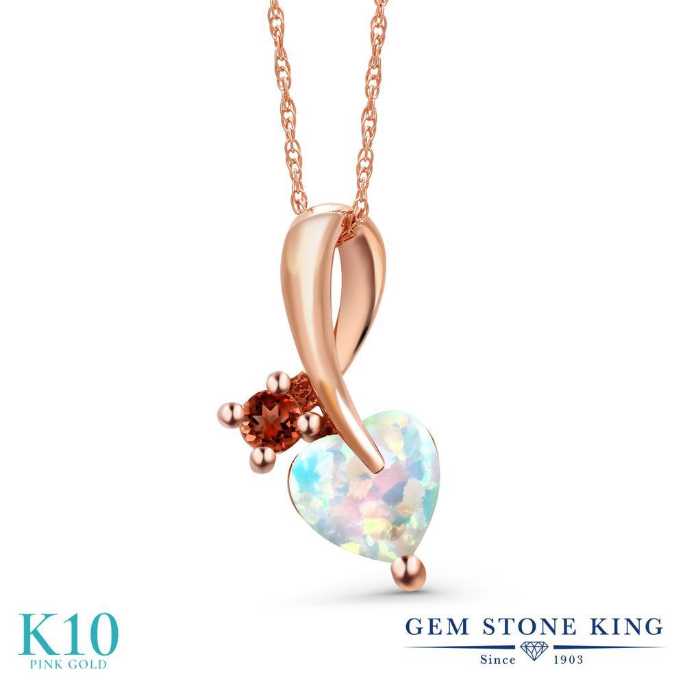 Gem Stone King 0.87カラット シミュレイテッド ホワイトオパール 天然 ガーネット 10金 ピンクゴールド(K10) ネックレス ペンダント レディース シンプル 10月 誕生石 金属アレルギー対応 誕生日プレゼント