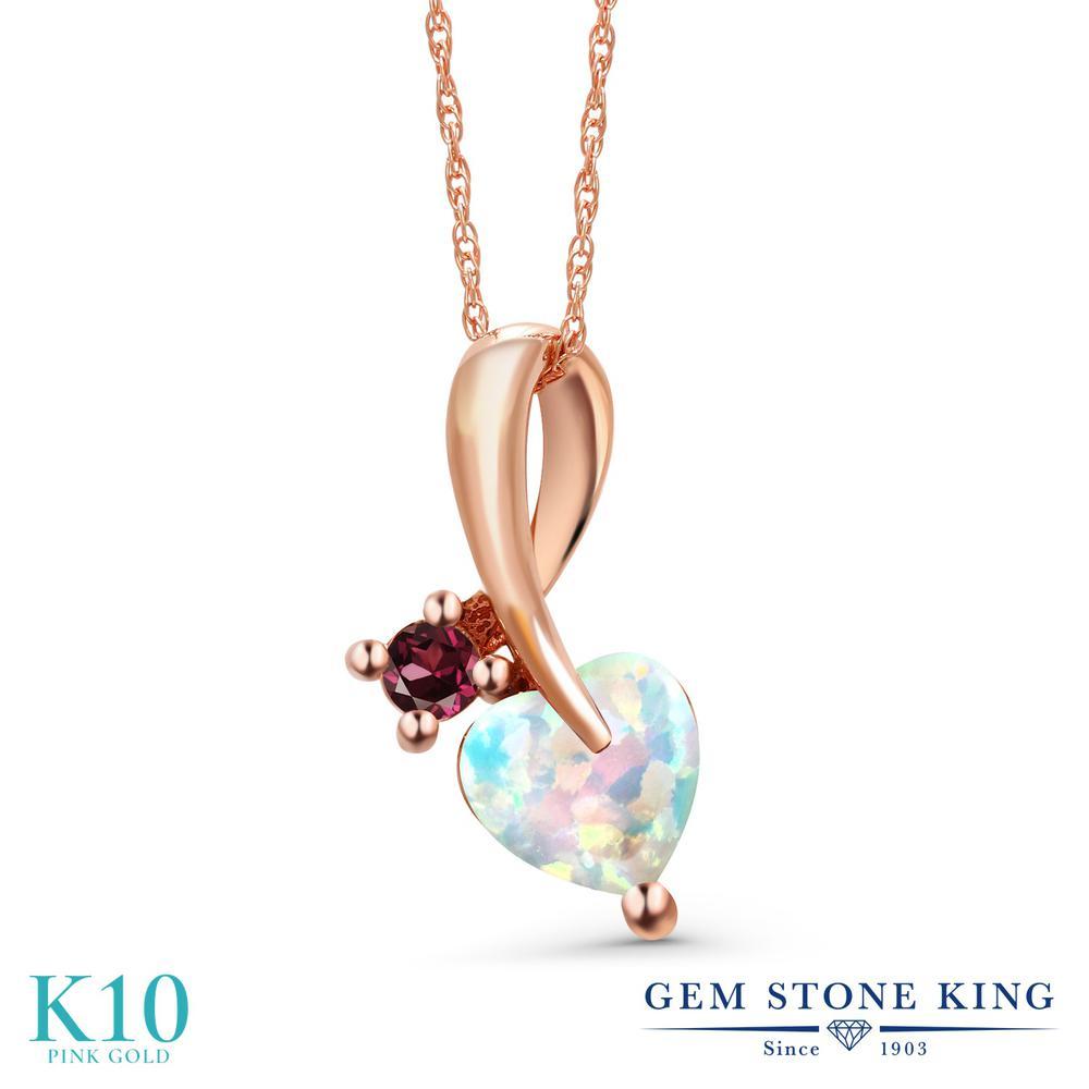 Gem Stone King 0.87カラット シミュレイテッド ホワイトオパール 天然 ロードライトガーネット 10金 ピンクゴールド(K10) ネックレス ペンダント レディース シンプル 10月 誕生石 金属アレルギー対応 誕生日プレゼント