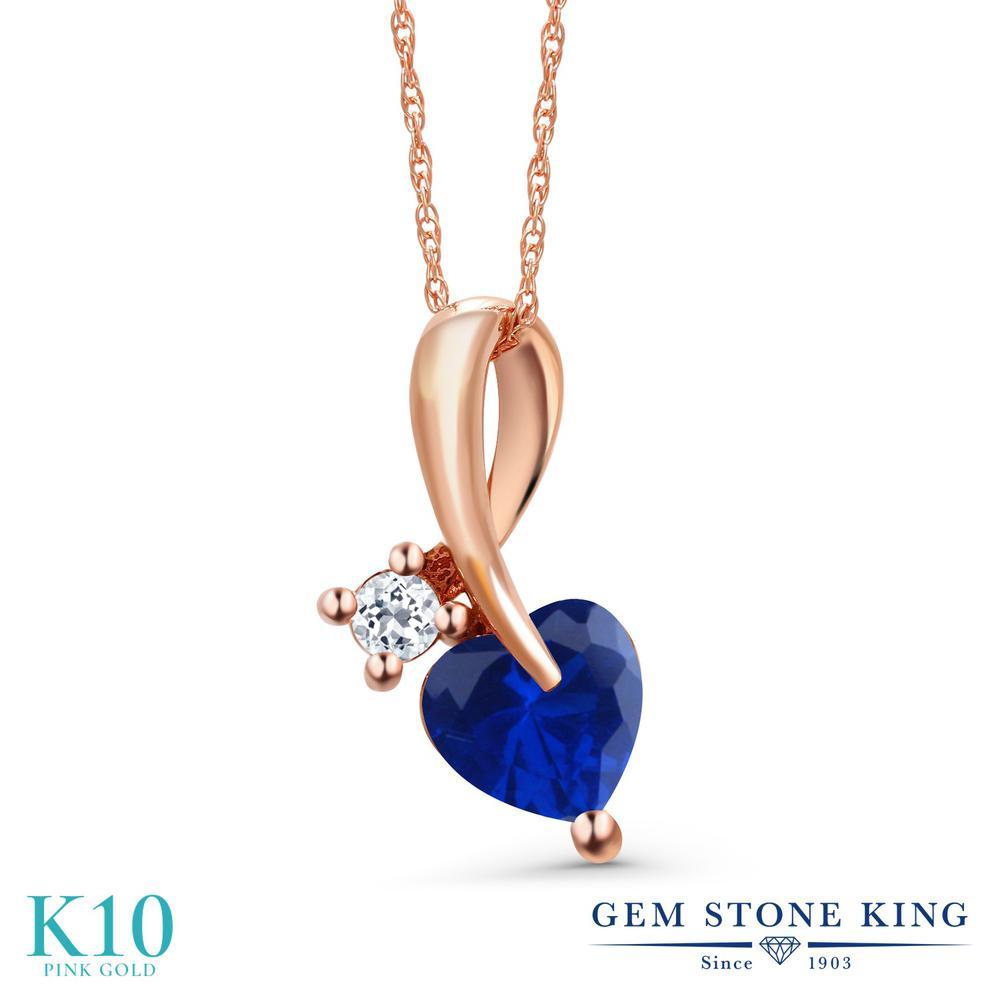 Gem Stone King 0.94カラット シミュレイテッド サファイア 天然 トパーズ (無色透明) 10金 ピンクゴールド(K10) ネックレス ペンダント レディース シンプル 金属アレルギー対応 誕生日プレゼント