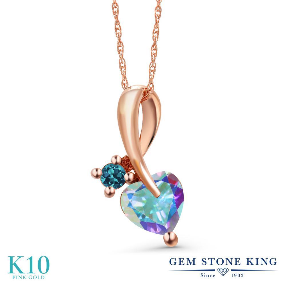 Gem Stone King 1.08カラット 天然石 ミスティックトパーズ (マーキュリーミスト) 天然 ロンドンブルートパーズ 10金 ピンクゴールド(K10) ネックレス ペンダント レディース シンプル 天然石 金属アレルギー対応 誕生日プレゼント