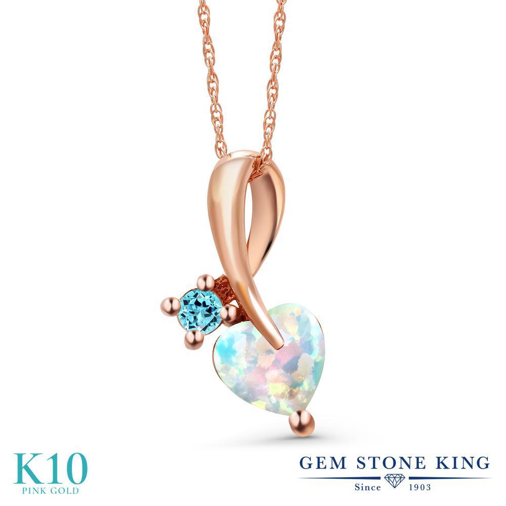 Gem Stone King 0.9カラット シミュレイテッド ホワイトオパール 天然 スイスブルートパーズ 10金 ピンクゴールド(K10) ネックレス ペンダント レディース シンプル 10月 誕生石 金属アレルギー対応 誕生日プレゼント