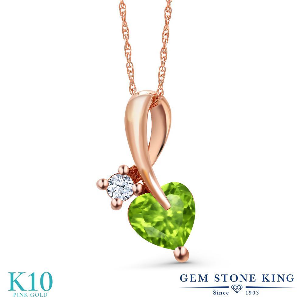 Gem Stone King 0.94カラット 天然石 ペリドット 10金 ピンクゴールド(K10) ネックレス ペンダント レディース シンプル 天然石 8月 誕生石 金属アレルギー対応 誕生日プレゼント