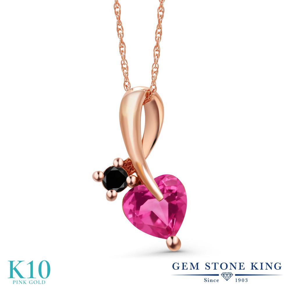 Gem Stone King 1.05カラット 天然 ミスティックトパーズ (ピンク) 天然ブラックダイヤモンド 10金 ピンクゴールド(K10) ネックレス ペンダント レディース シンプル 天然石 金属アレルギー対応 誕生日プレゼント