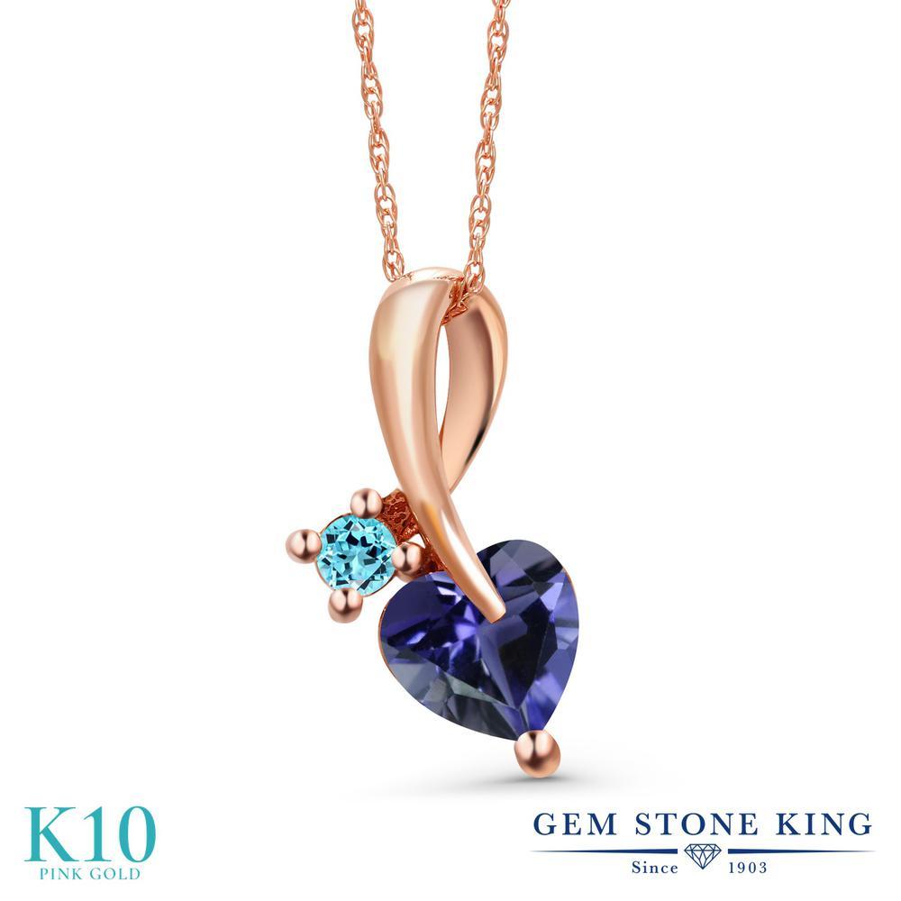 Gem Stone King 0.73カラット 天然 アイオライト (ブルー) 天然 スイスブルートパーズ 10金 ピンクゴールド(K10) ネックレス ペンダント レディース シンプル 天然石 金属アレルギー対応 誕生日プレゼント