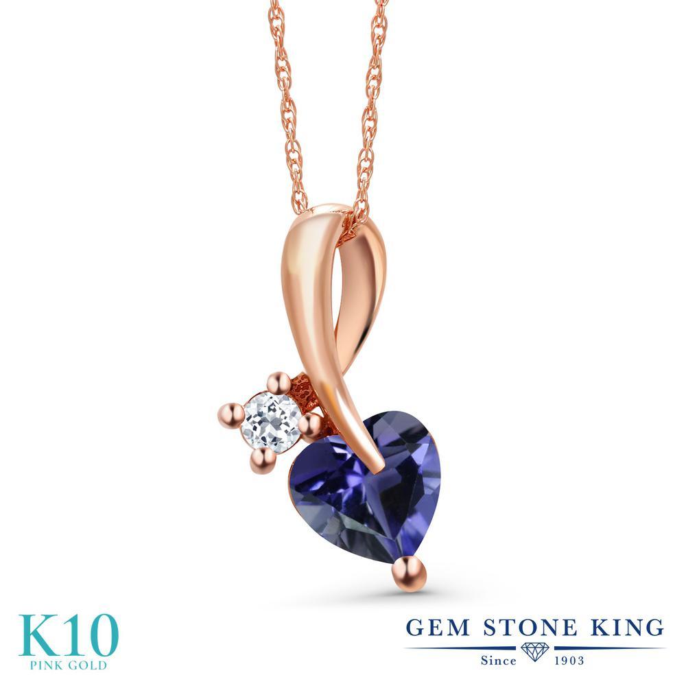 Gem Stone King 0.72カラット 天然 アイオライト (ブルー) 天然 トパーズ (無色透明) 10金 ピンクゴールド(K10) ネックレス ペンダント レディース シンプル 天然石 金属アレルギー対応 誕生日プレゼント