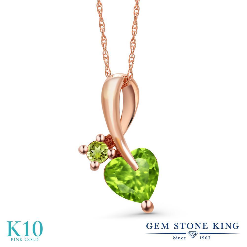 Gem Stone King 0.95カラット 天然石 ペリドット 10金 ピンクゴールド(K10) ネックレス ペンダント レディース シンプル 天然石 8月 誕生石 金属アレルギー対応 誕生日プレゼント