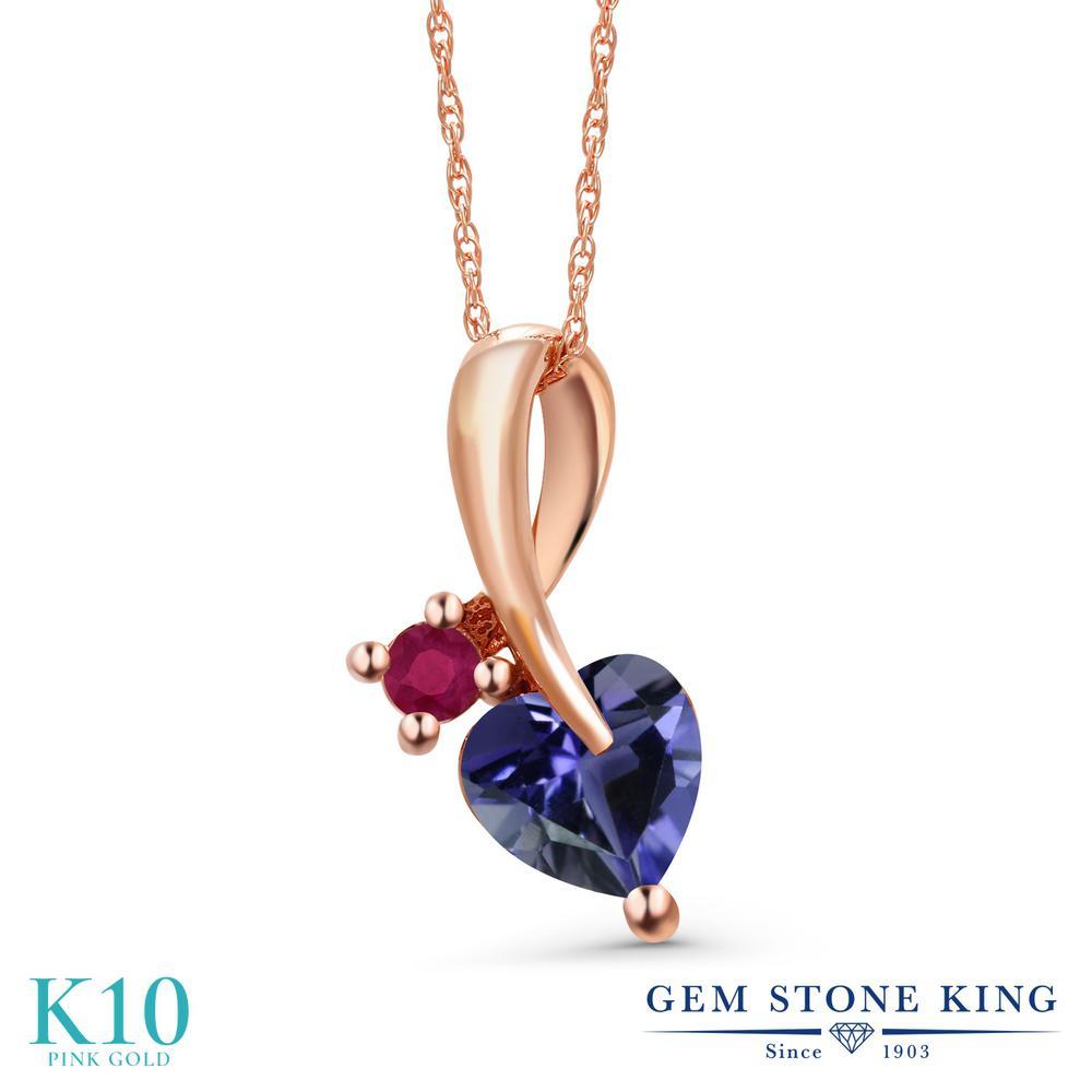 Gem Stone King 0.72カラット 天然 アイオライト (ブルー) 天然 ルビー 10金 ピンクゴールド(K10) ネックレス ペンダント レディース シンプル 天然石 金属アレルギー対応 誕生日プレゼント