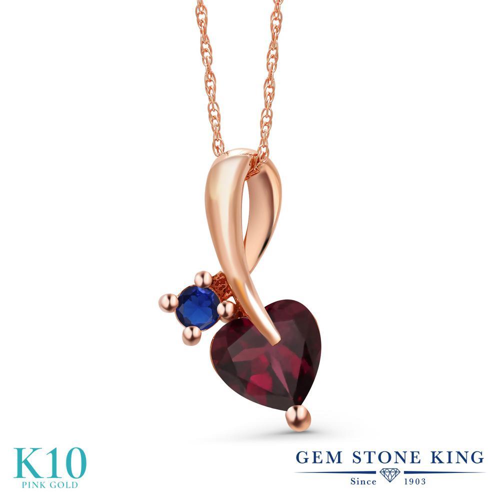 Gem Stone King 0.85カラット 天然 ロードライトガーネット シミュレイテッド サファイア 10金 ピンクゴールド(K10) ネックレス ペンダント レディース シンプル 天然石 金属アレルギー対応 誕生日プレゼント