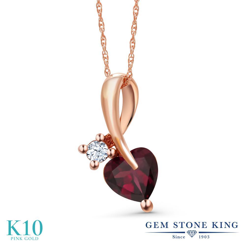 Gem Stone King 0.85カラット 天然 ロードライトガーネット 合成ホワイトサファイア (ダイヤのような無色透明) 10金 ピンクゴールド(K10) ネックレス ペンダント レディース シンプル 天然石 金属アレルギー対応 誕生日プレゼント