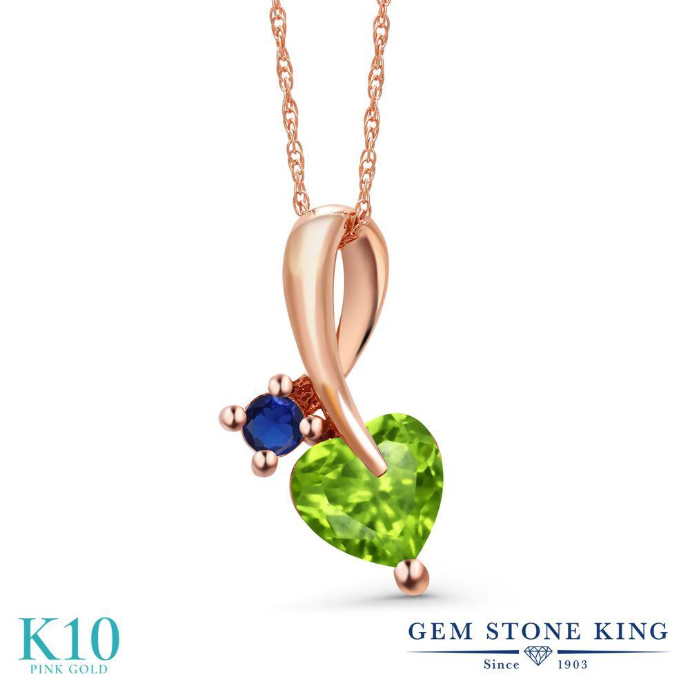 Gem Stone King 0.96カラット 天然石 ペリドット シミュレイテッド サファイア 10金 ピンクゴールド(K10) ネックレス ペンダント レディース シンプル 天然石 8月 誕生石 金属アレルギー対応 誕生日プレゼント
